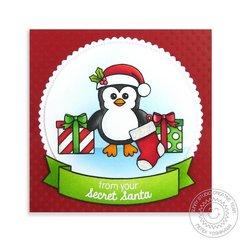 Christmas Icons Penguin Christmas Card by Mendi