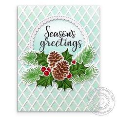 Sunny Studio Stamps Holly & Pinecones Christmas Card by Mendi Yoshikawa