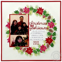 Sunny Studio Stamps Christmas Trimmings Scrapbook Layout by Mendi Yoshikawa
