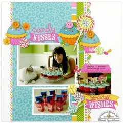 Doodlebug Chunky Twine Candy Kisses Layout by Mendi Yoshikawa
