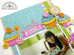 Doodlebug Chunky Twine Candy Kisses Layout by Mendi Yoshikawa