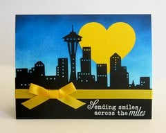 Sending Smiles Across The Miles City Scene Card by Mendi Yoshikawa