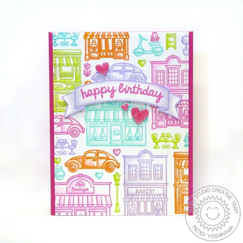 Sunny Studio Stamps City Streets Card by Mendi Yoshikawa