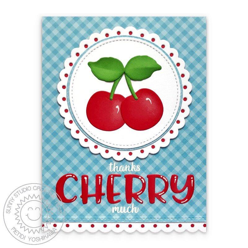 Sunny Studio Punny Cherry Card by Mendi Yoshikawa