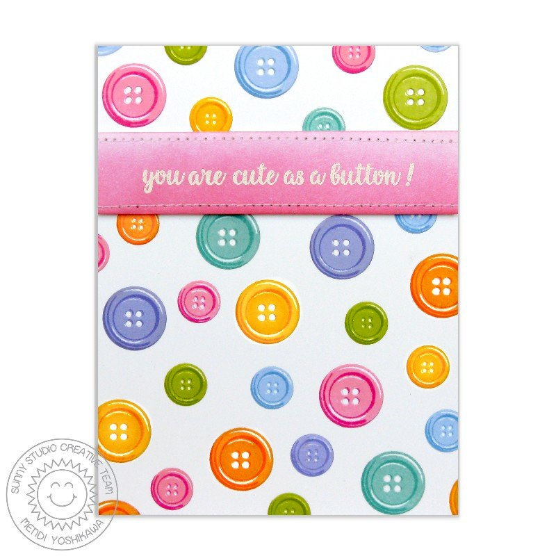 Sunny Studio Cute As A Button Card by Mendi Yoshikawa