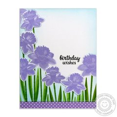 Sunny Studio Lavender Daffodil Card by Mendi Yoshikawa