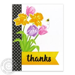 Sunny Studio Tulips & Daffodil Thank You Card by Mendi Yoshikawa