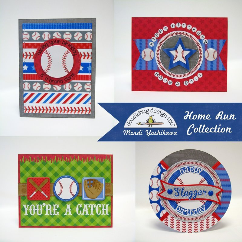 Doodlebug Home Run Baseball Themed Cards by Mendi Yoshikawa