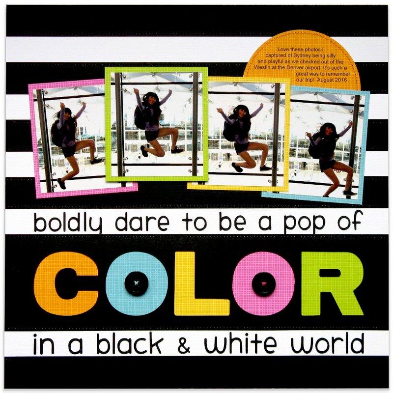 Doodlebug Pop of Color Scrapbook Layout by Mendi Yoshikawa