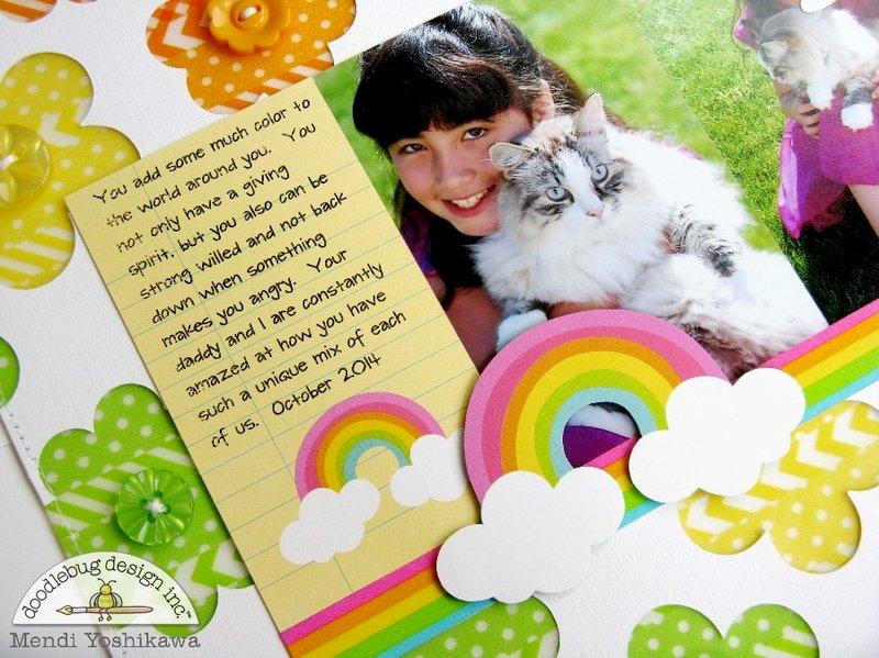 Doodlebug Washi Tape Rainbow Layout by Mendi Yoshikawa