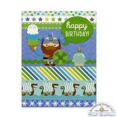 Doodlebug Dragon Tails Viking Birthday Card by Mendi Yoshikawa