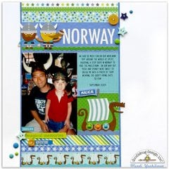 Doodlebug Dragon Tails Norway Disney Layout by Mendi Yoshikawa