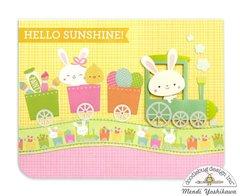 Doodlebug Easter Express Bunny Train Card by Mendi Yoshikawa