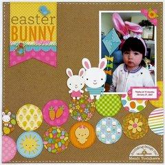 Doodlebug Easter Parade Bunny layout by Mendi Yoshikawa