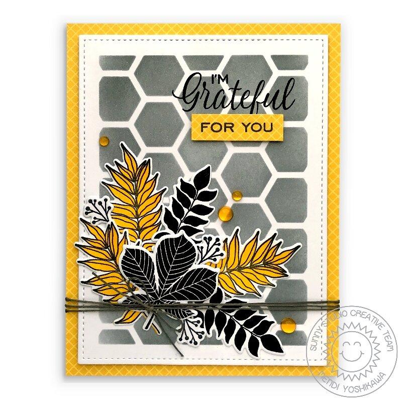 Sunny Studio Stamps Elegant Leaves Fall Card by Mendi Yoshikawa