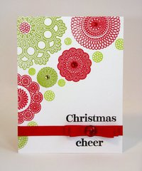A Waltzing Mouse Doily Christmas Card by Mendi Yoshikawa