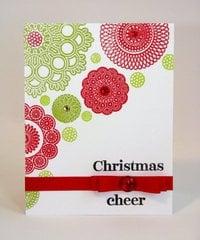 A Waltzing Mouse Doily Christmas Card by Mendi Yoshikawa