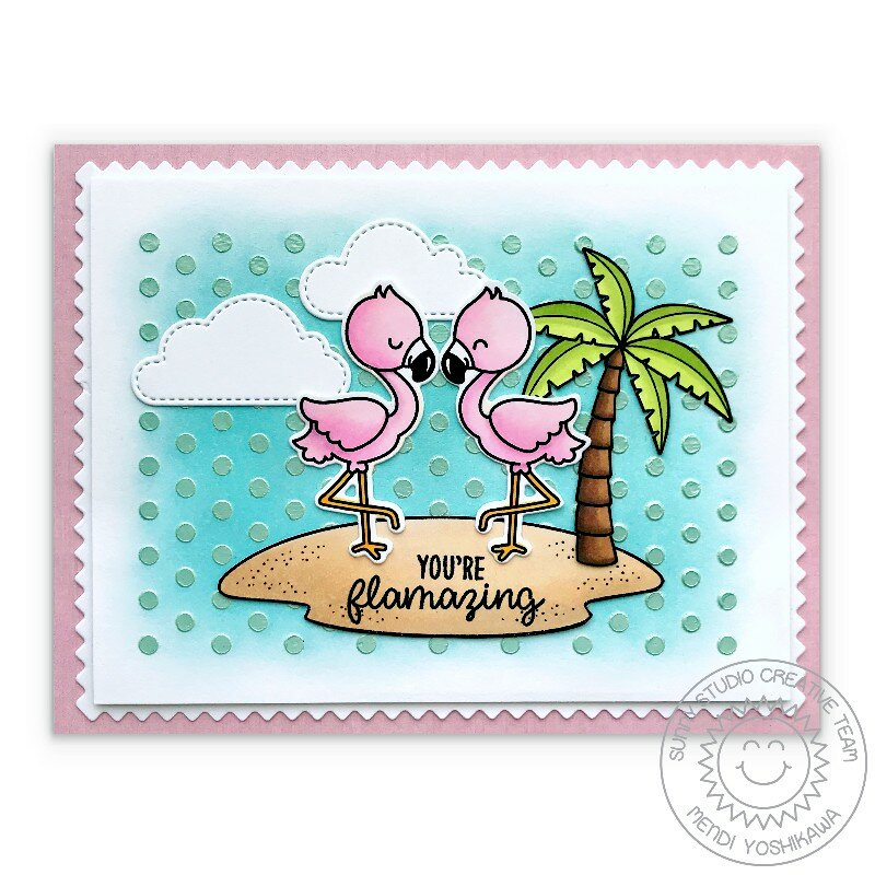 Sunny Studio Stamps Fabulous Flamingos Card by Mendi Yoshikawa