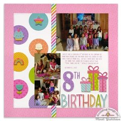 Doodlebug Fairy Tales Girls Birthday Layout by Mendi Yoshikawa