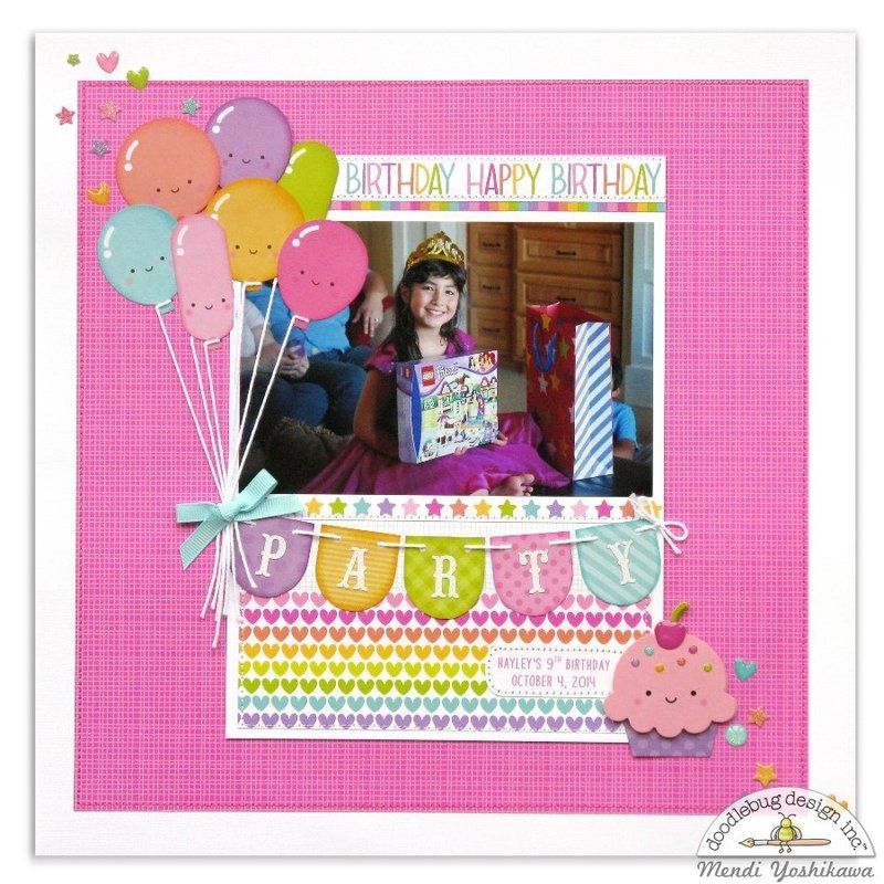 Doodlebug Fairy Tales Girls Birthday Scrapbook Layout by Mendi Yoshikawa