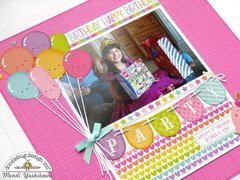 Doodlebug Fairy Tales Girls Birthday Scrapbook Layout by Mendi Yoshikawa