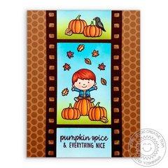 Sunny Studio Pumpkin Spice Fall Card by Mendi Yoshikawa