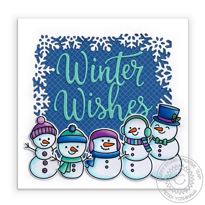 Sunny Studio Feeling Frosty Holiday Snowman Card by Mendi Yoshikawa