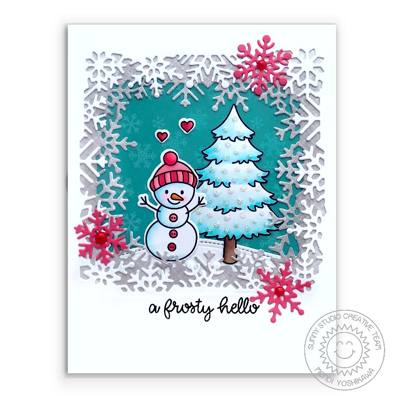 Sunny Studio Feeling Frosty Holiday Snowman Card by Mendi Yoshikawa