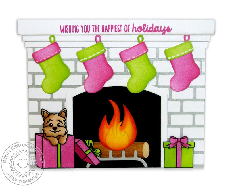 Sunny Studio Fireplace Christmas Card by Mendi Yoshikawa