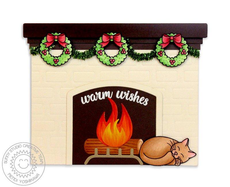 Sunny Studio Fireplace Christmas Card by Mendi Yoshikawa