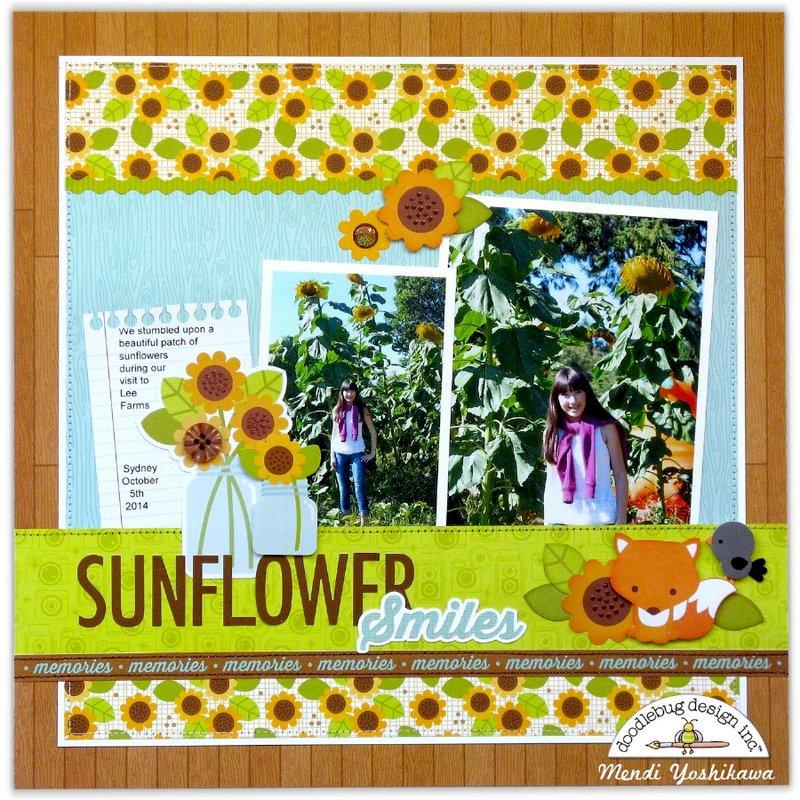 Doodlebug Flea Market Sunflower Layout by Mendi Yoshikawa