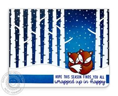 Sunny Studio Foxy Christmas Holiday Fox Card by Mendi Yoshikawa