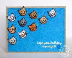 Sunny Studio Furever Friends Cat Card by Mendi Yoshikawa