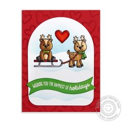 Sunny Studio Gleeful Reindeer Christmas Card by Mendi