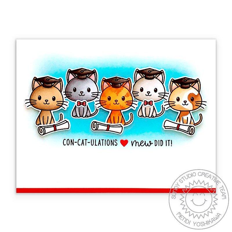 Sunny Studio Grad Cat Graduation Card by Mendi Yoshikawa