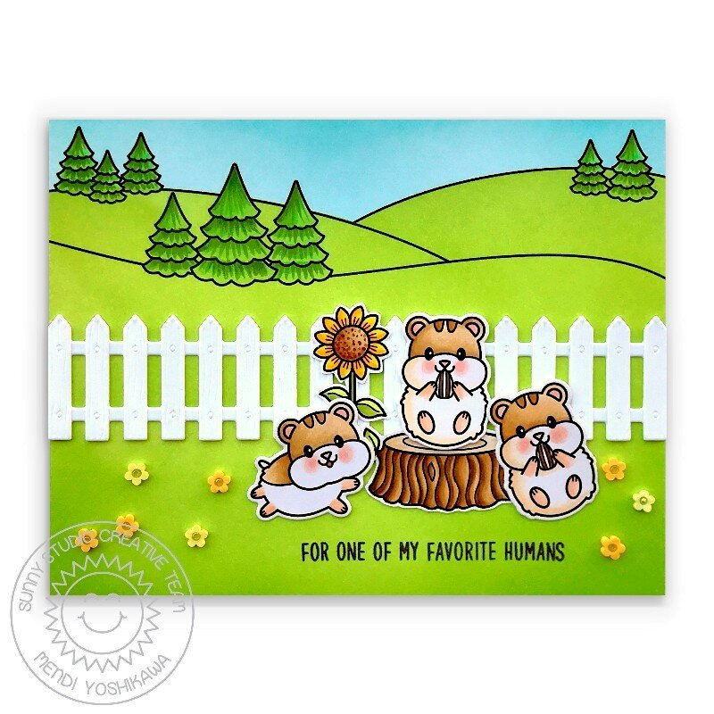 Sunny Studio Happy Hamsters Card by Mendi Yoshikawa