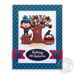 Sunny Studio Apple Tree Fall Card by Mendi Yoshikawa