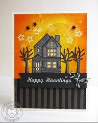 Sunny Studio Happy Home Haunted House card by Mendi Yoshikawa