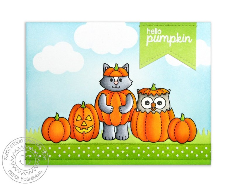 Sunny Studio Happy Owl-o-ween Card by Mendi Yoshikawa