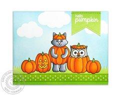 Sunny Studio Happy Owl-o-ween Card by Mendi Yoshikawa