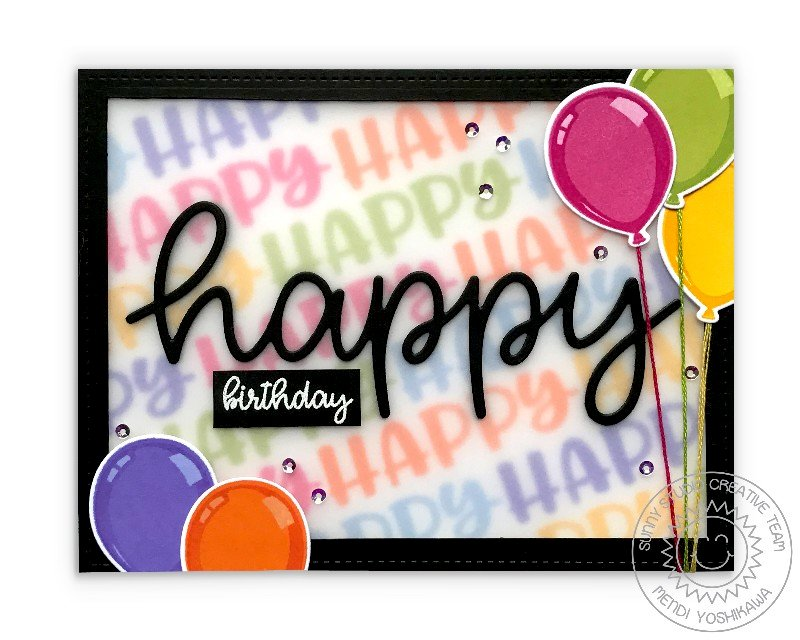 Sunny Studio Happy Birthday Balloon Card by Mendi Yoshikawa