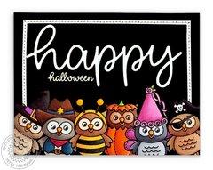 Sunny Studio Happy Halloween Owl Card by Mendi Yoshikawa