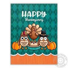 Sunny Studio Happy Thanksgiving Turkey Card by Mendi Yoshikawa