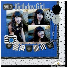 Doodlebug Hats Off Birthday Layout by Mendi Yoshikawa