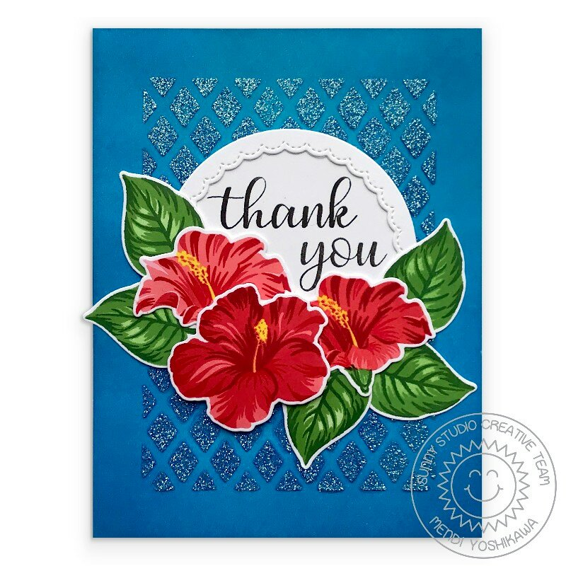 Sunny Studio Stamps Hawaiian Hibiscus Card by Mendi Yoshikawa