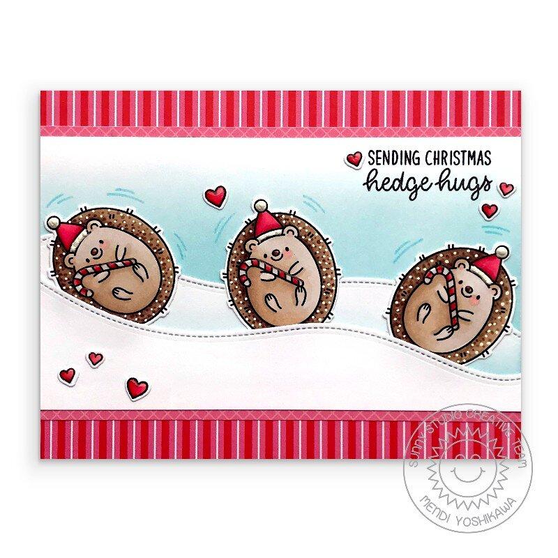Sunny Studio Hedgey Holidays Hedgehog Christmas Card by Mendi Yoshikawa