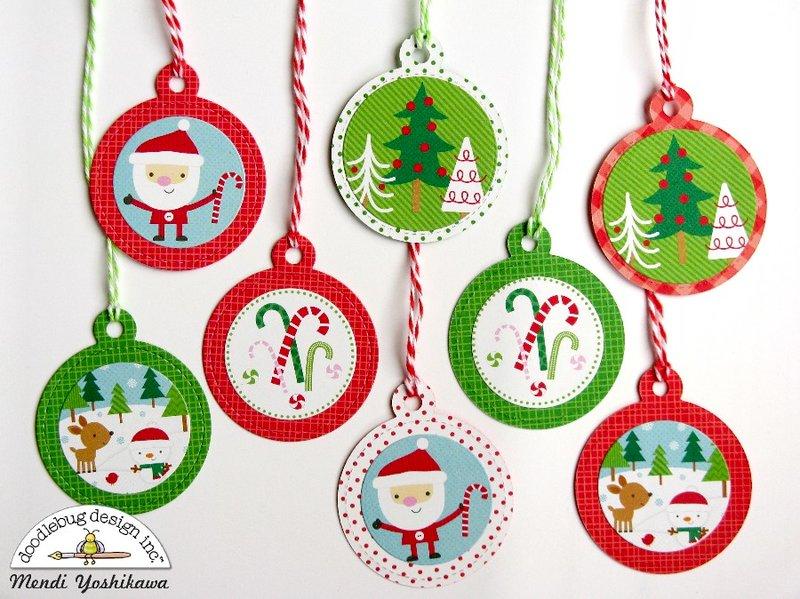 Doodlebug Here Comes Santa Claus Christmas Gift Tags by Mendi