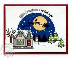 Sunny Studio Stamps Here Comes Santa Christmas Card by Mendi Yoshikawa