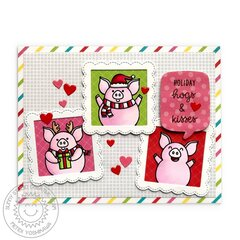 Sunny Studio Stamps Hogs & Kisses Pig Card by Mendi Yoshikawa