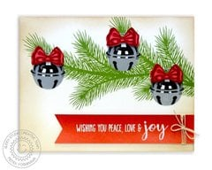 Sunny Studio Holiday Style Jingle Bell Christmas Card by Mendi